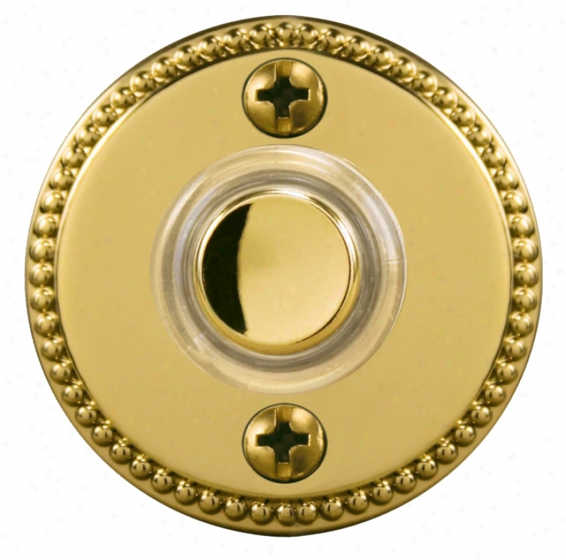 "Polished Brass 1 3/4"" Beaded Round Led Doorbell Button (k6233)"