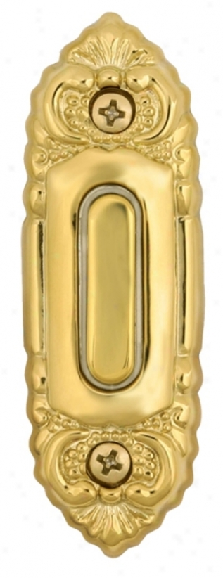 Polished Brass Ornate Detail Lighted Doorbell Button (k6238)