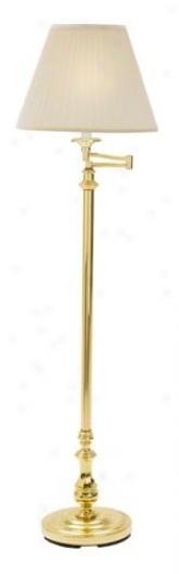 Polished Brass Swingarm Pleated Shade Floor Lamp (13364)