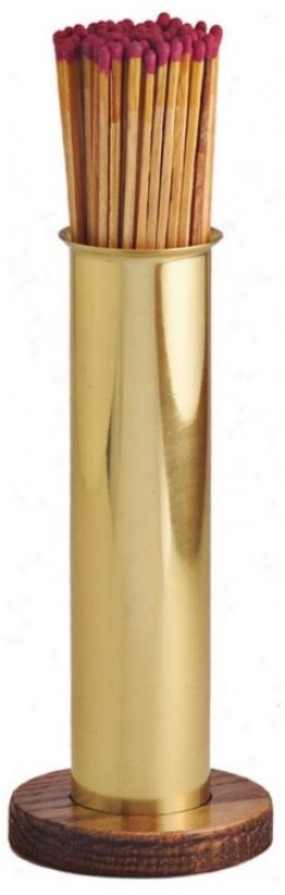 Polished Solid Brass And Oak Match Holdder (u9097)