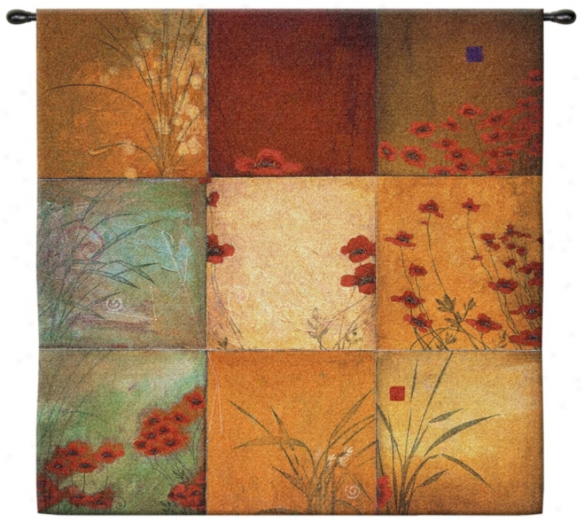"Poppy Nine Patch Large 53"" Square Wall Hanging Tapestry (j9001)"