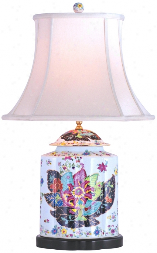 Porcelain Scallops Tobacco Tea Jar Table Lamp (g6973)