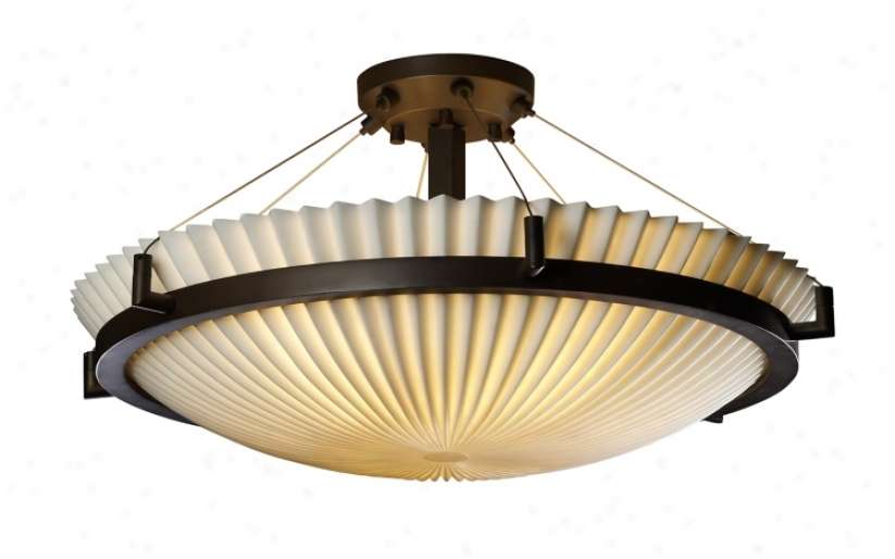 "Porcelina Black Pleated 20 1/2"" Wide Ceiling Light Fixture (26241)"