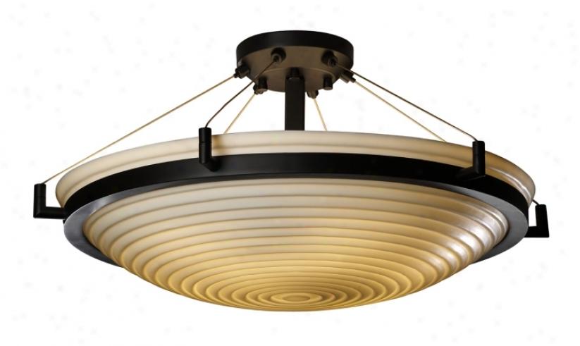 """Porcelina Sawtooth Bronze 20 1/2"""" Wide Ceiling Light (26198)"""