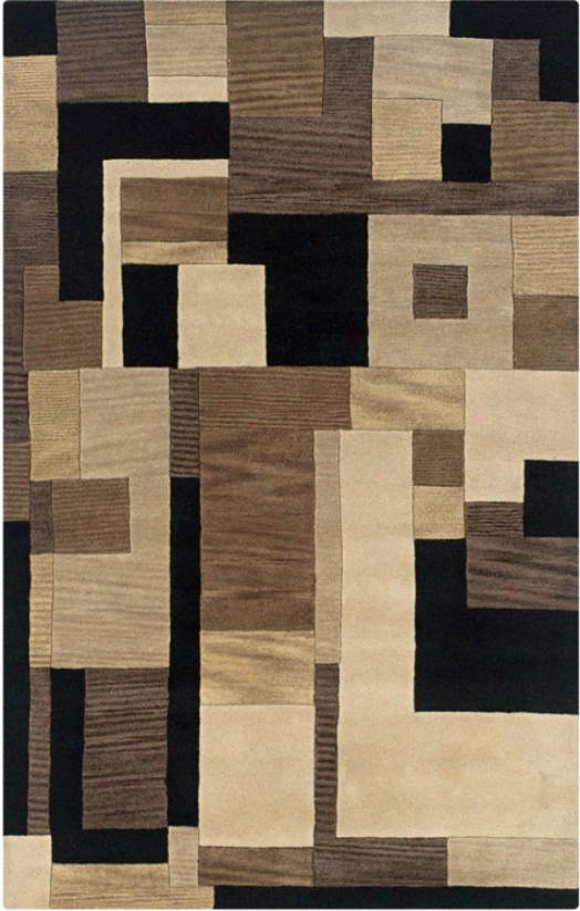 Porter Collection Tribeca Black Multi 8' Round Region Rug (v1079)
