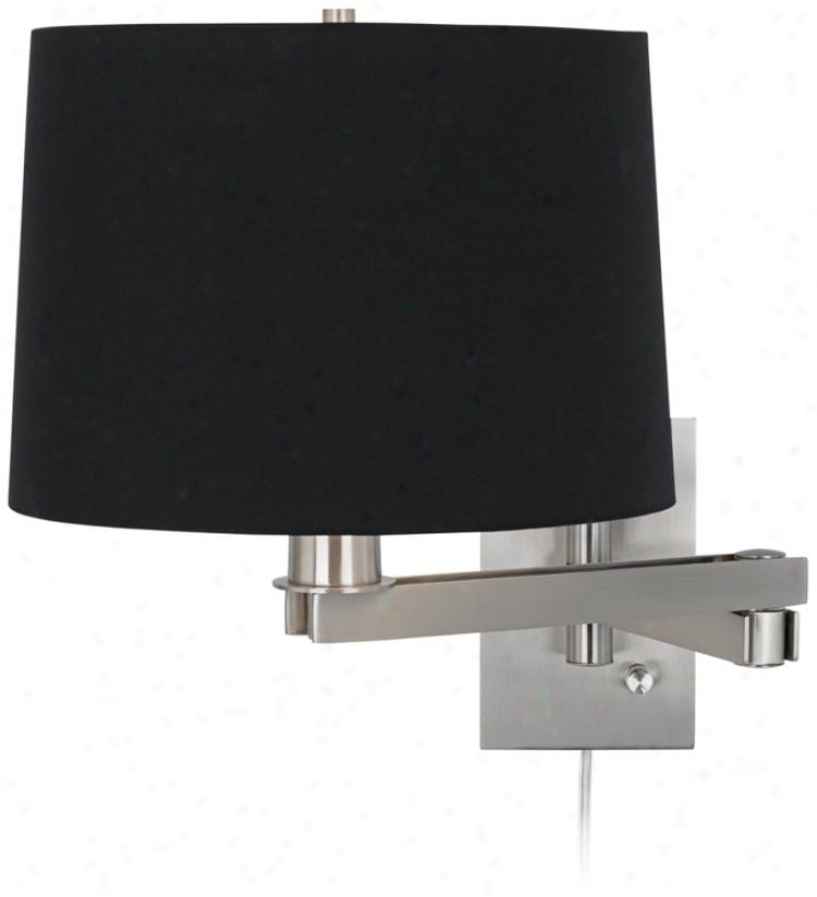 Possini Euro Design Black Drum Shade Plug-in Swing Arm (m9482-88533)