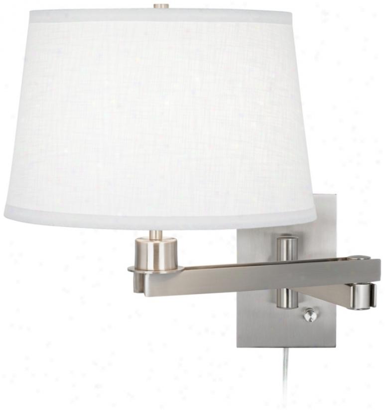 Possini Euro Design White Linen Shade Plug-in Swing Arm (m9482-k4850)