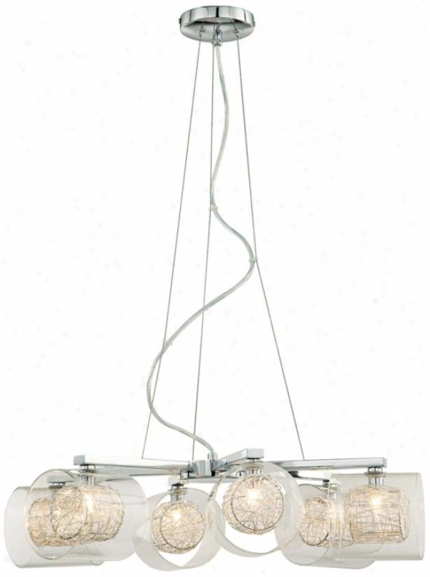 Possini Euro Design Wire And Glass Cylinder Chandelier (04030)