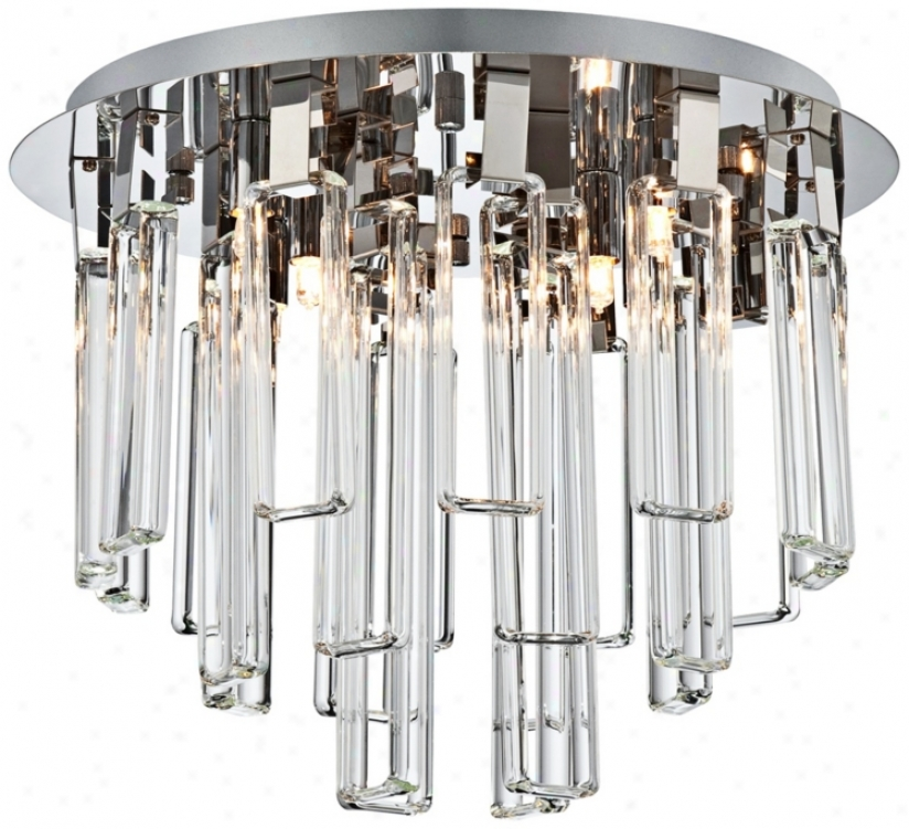 "Possini Euro Glass Dangle Chrome 15 3/4"" Wide Ceiling Light (t8857)"