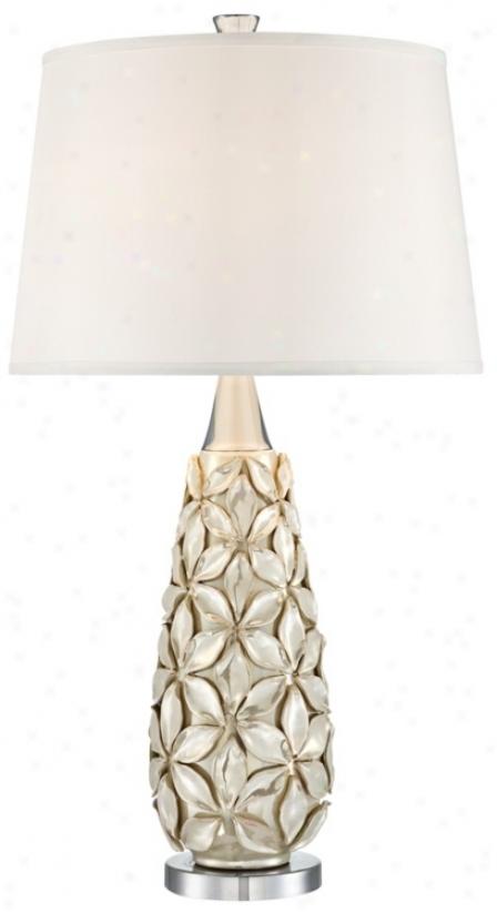 Possini Euro Iridescent Flowe5 Ceramictable Lamp (u2800)