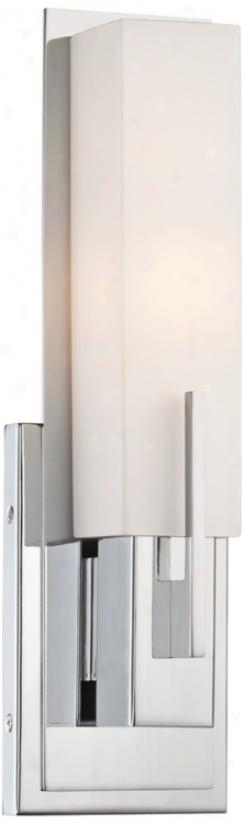 "Possini Euro Midtown 14"" High White Glass Chrome Wall Sconce (t9724)"