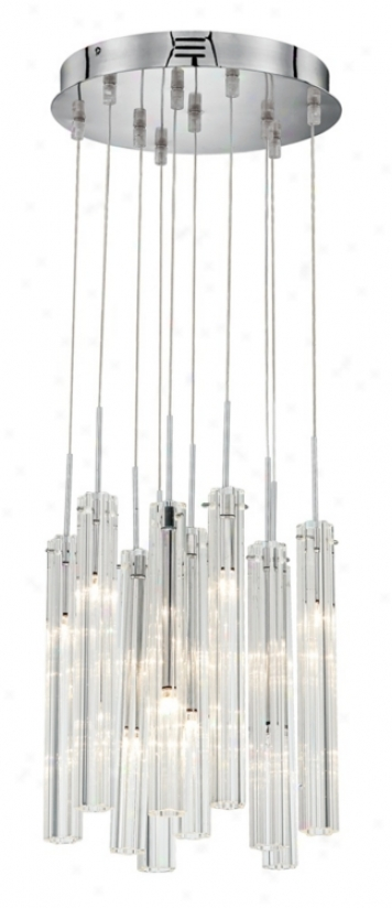 Possini Euro Rectangular Clear away Glass Tube Chandelier (59610)