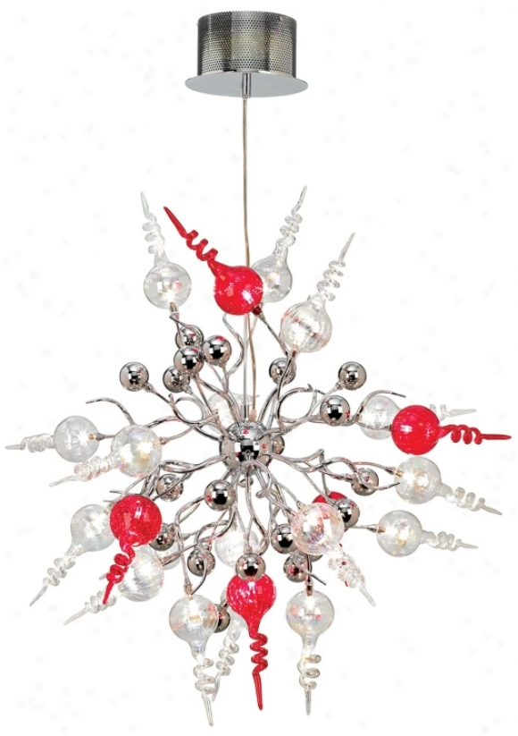 Possini Ehro Red And Clear Swirl 22-ligbt Pendant Chandelier (81493)