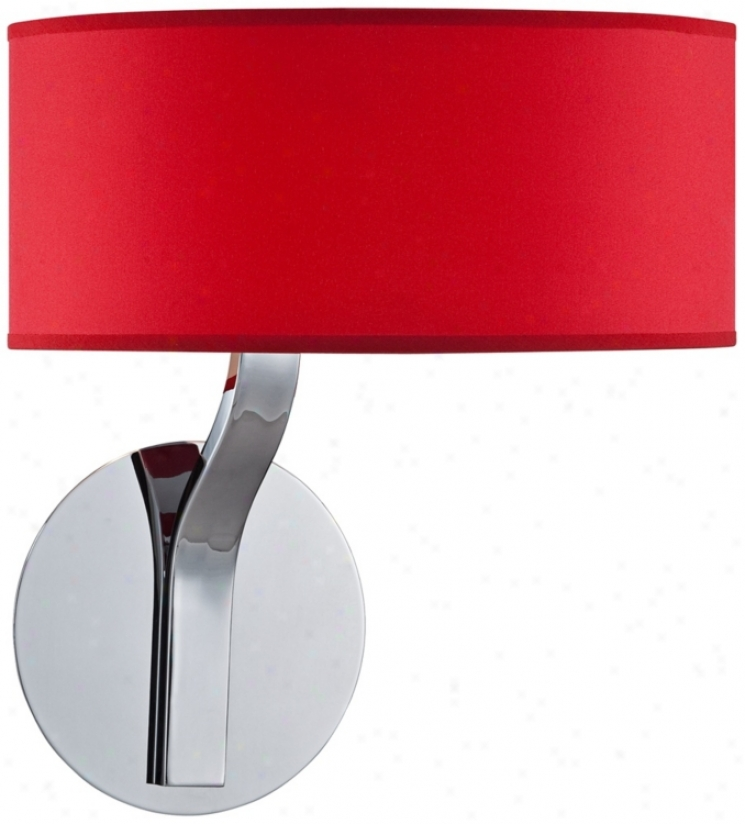 Possni Euro Red Drum Shade And Chrome Wall Sconce (t8969)