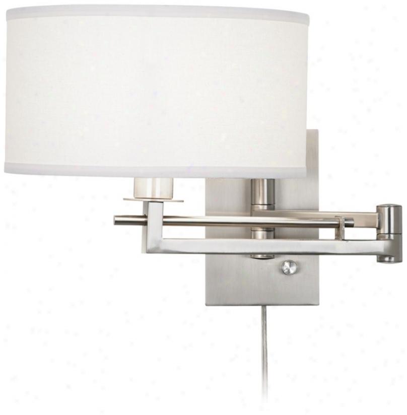 Possini Euro White Drum Plug-in Diction Swing Arm Wall Light (m9450)