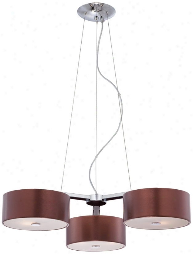 Possini Triple Aluminum Coffee And Chrome 6-light Pendant (n0099)