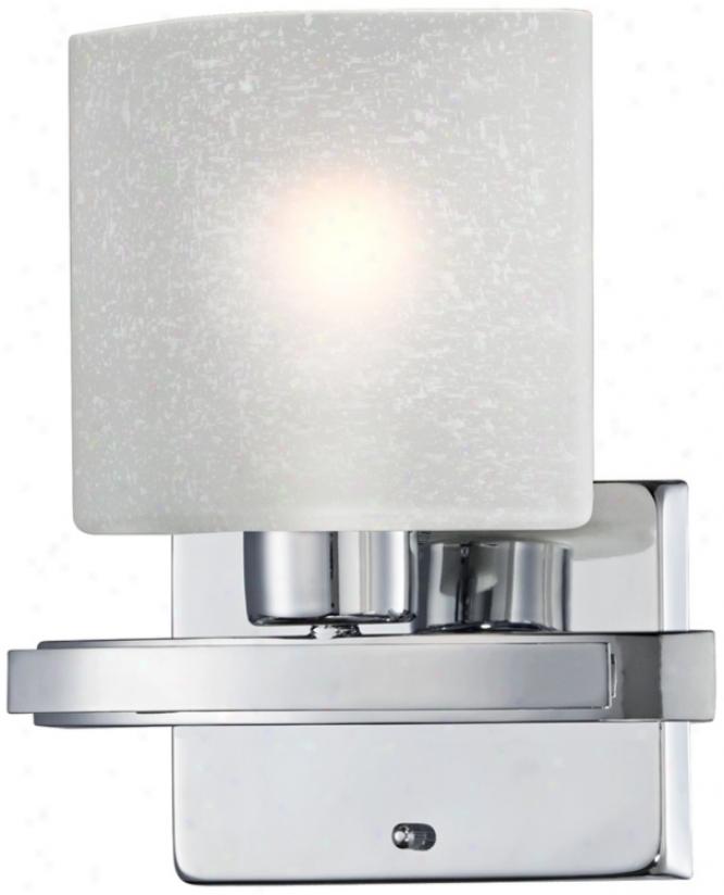 "Possini White Linen Glass Chrome 8 1/2"" Wide Bath Light (u1330)"