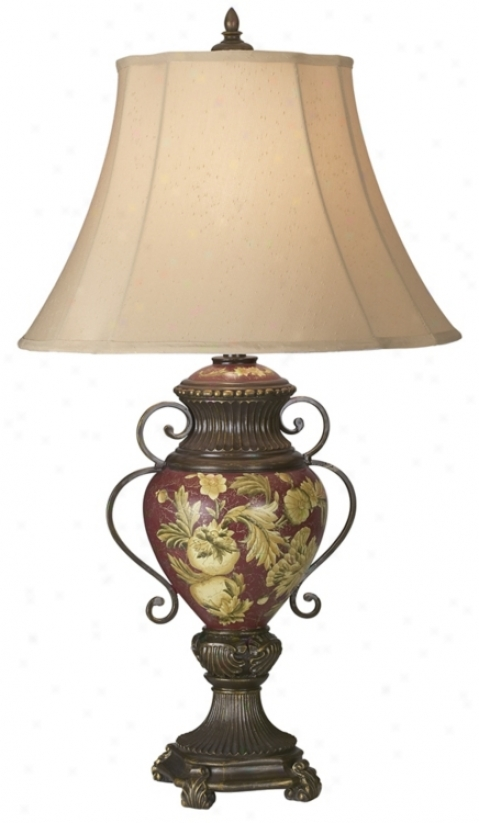 Possini® Collection Tuscan Red Floral Urn Tablee Lamp (00754)