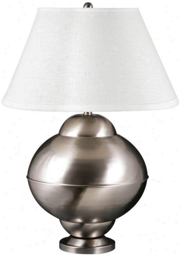 Potts Satin Nickel Upon Cream Shade Spun Metal Table Lamp (u9225)