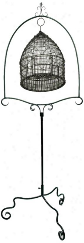 Powder Coated Graphite Metal Fowl Cage Stand (u9886)