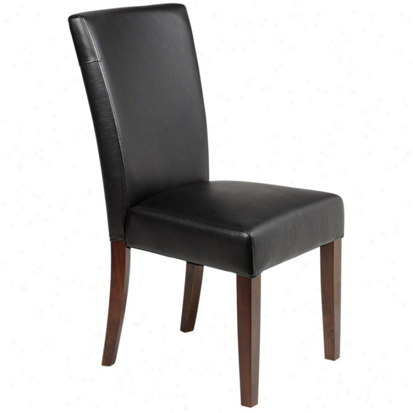 Powell Azelrod Black Bonded Leatner Parsons Chair (u4882)