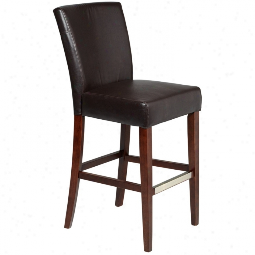 "Powell Axelrod Brown Bonded Leather 30 1/4"" High Barstool (u4892)"