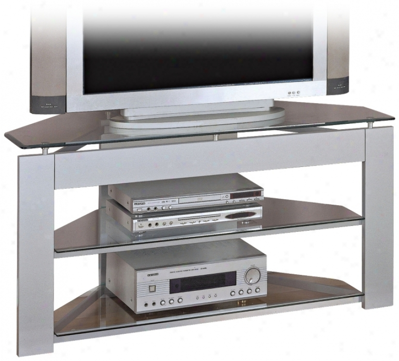 Powell Glossy Silver Tv Stand (n5542)