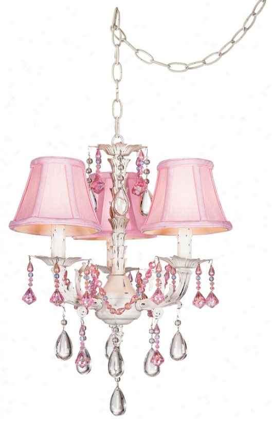 Pretty In Pink Swag Style Plug-in Mini Chandelier (27319)