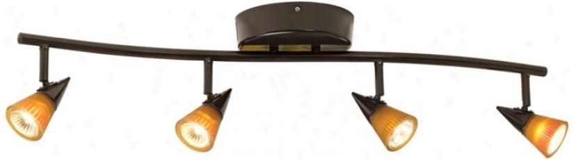 Protrack® 200 Watt Amber/white Glass Bronze 4-light Wave Bar (28925)