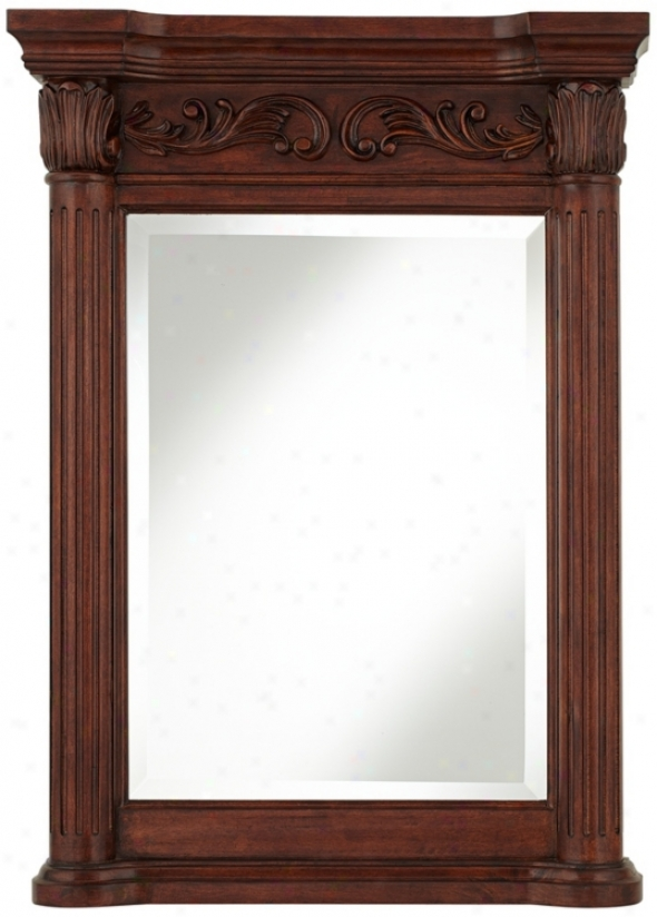 "Provence Cherry Wood Polishing 33"" High Column Wall Mirror (u0084)"