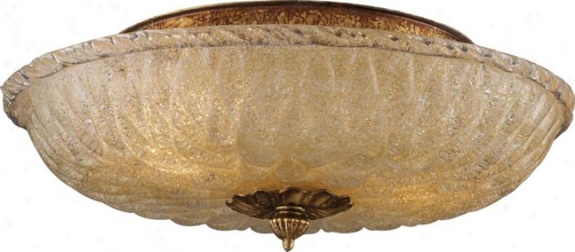 "Providence Antique Gold 15"" Wide Ceilign Ligut Fixture (k2891)"