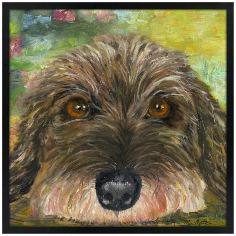 "Puppy Eyes 31"" Square Black Giclee Wall Art (k4130-m6945)"