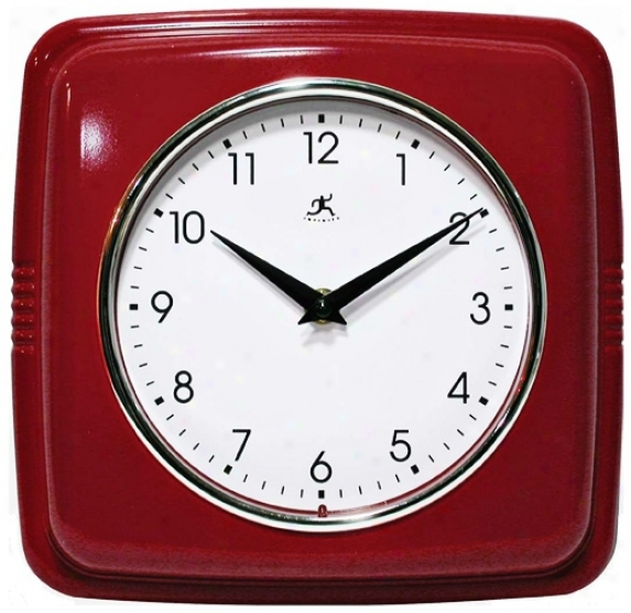 "Phrity Red 9 1/2"" Square Wall Clock (r6859)"