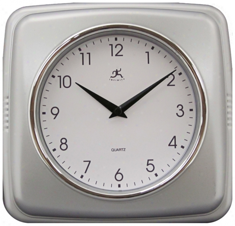 "Purity Silver 9 1/2"" Square Wall Clock (r6860)"