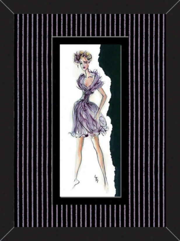 "Purple & Pink Dancer B 15 3/4"" High Wall Art (12568)"