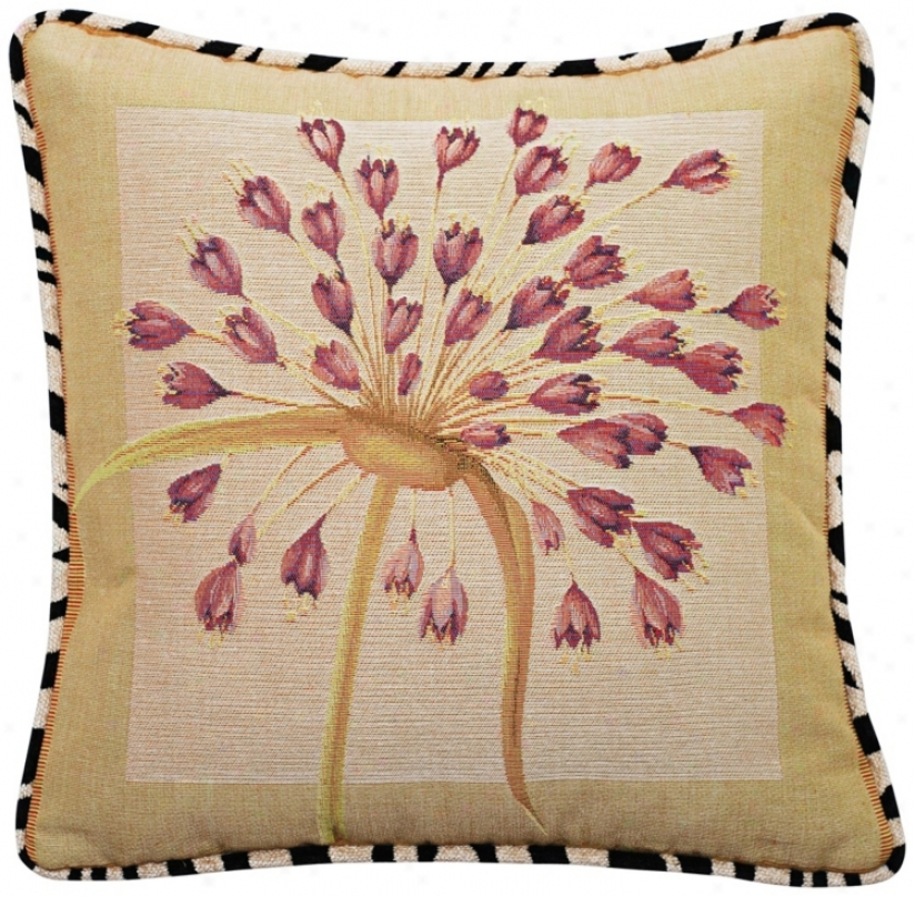 "Purple Dragon Lily And Zebra Trim 19"" Square Accent Pillow (t6237)"