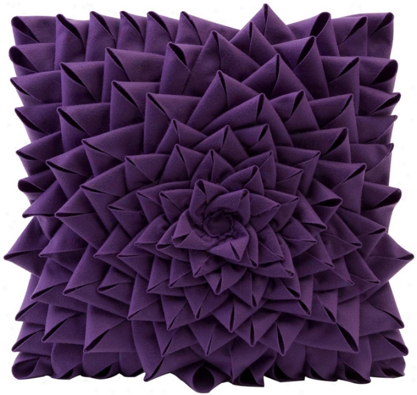 "Purple Fontella 16"" Squaer Skill Sewn Felt Rose Pillow (t9792)"