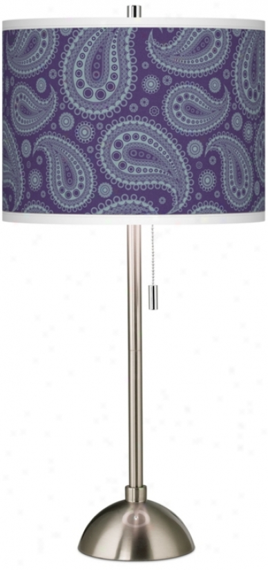 Purple Paisley Thread of flax Giclee Contemporary Table Lamp (60757-t8088)