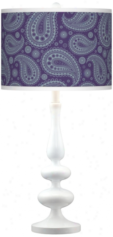 Purple Paisley Linen Giclee Paley White Table Lamp (n5729-t8103)