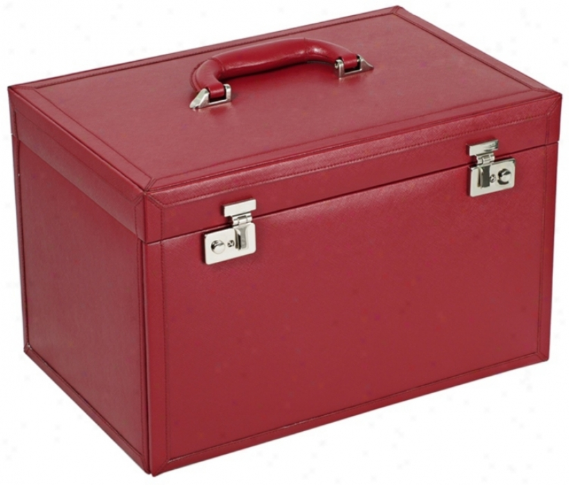 Queens Court Unusual Large Crimson Leather Jewels Box (v5584)