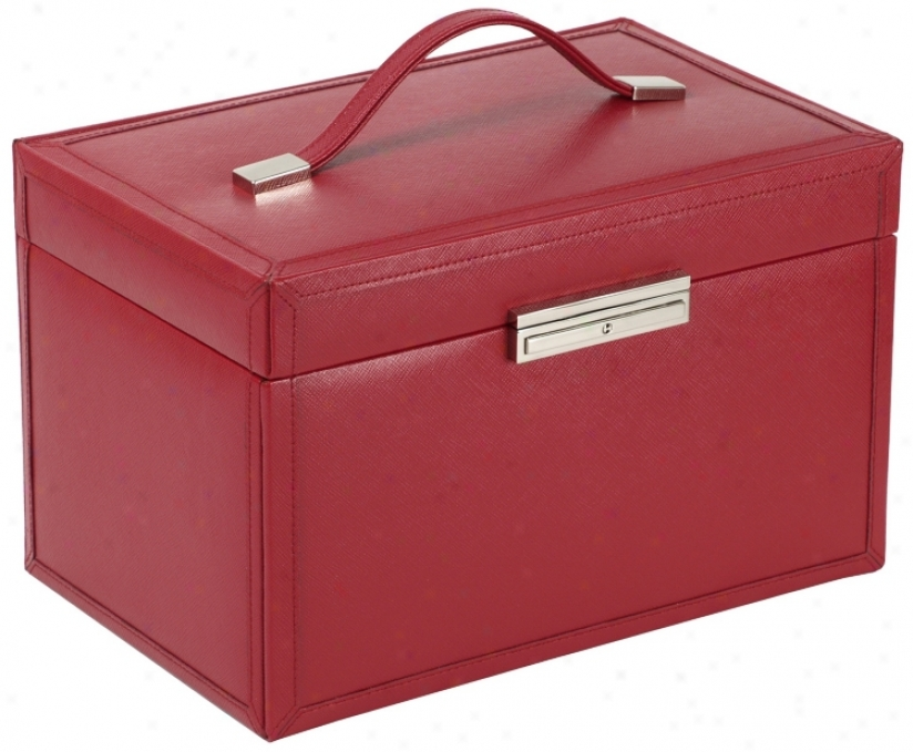 Queens Court Large Crimson Leather Jewelry Box (v5587)