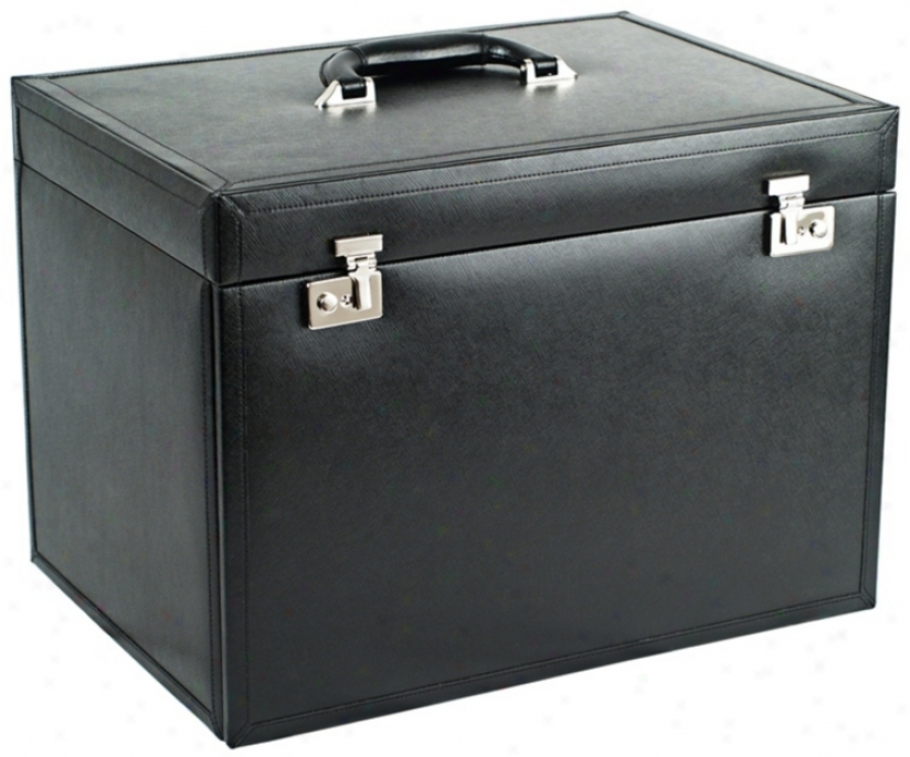 Queens Court Xl Noir Leather Jewelry Box Armoire (5v580)