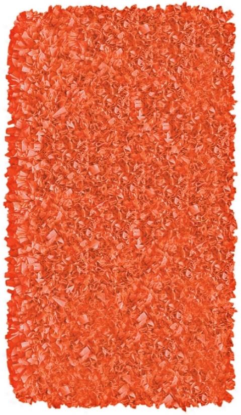 "Raganoodle Tangerine 2' 8quot;x4Ə 8"" Shag Area Rug (f7113)"