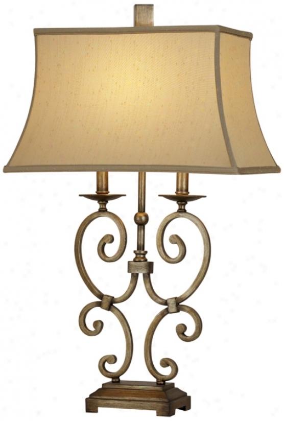 Raschella Bronze Scroll Table Lamp (r4846)
