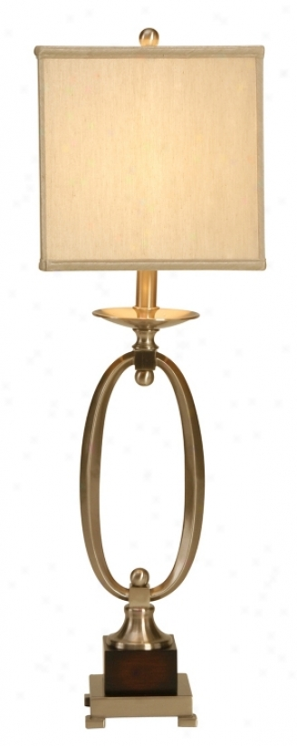 Raschella Satin Nickel Oval Ring Table Lamp (13908))