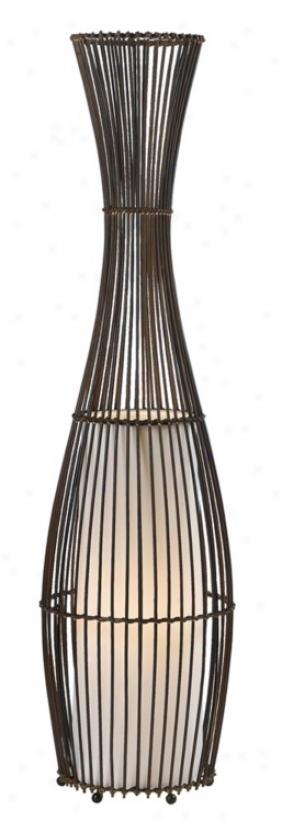 """Rattan Line Vase 40"""" High Floor Lamp (t8621)"""