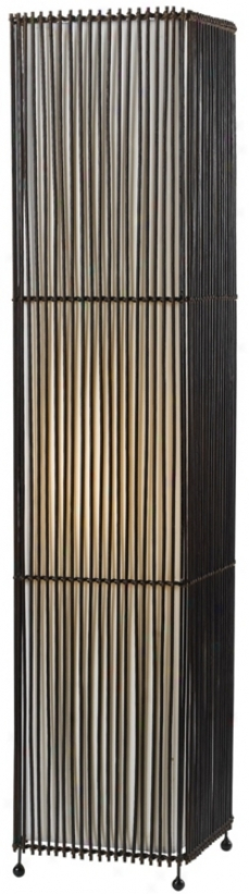 "Rattan Rectangular Column 40"" HighF loor Lamp (t8620)"