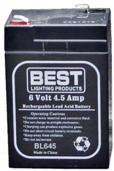 Rechargeable 6 Volt 4.5 Amp-hour Sealed Lead Acid Battery (64616)