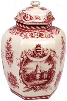 Red And White Porcelain 10 1/2&qout; High Jar (r3261)