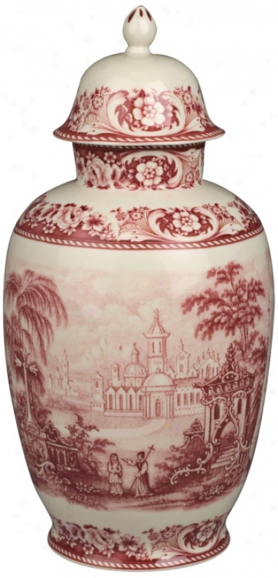 """Red And White China 16"""" High Jar (r3271)"""